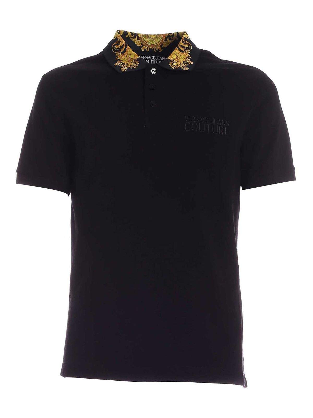 VERSACE JEANS COUTURE EMBROIDERY POLO SHIRT IN BLACK