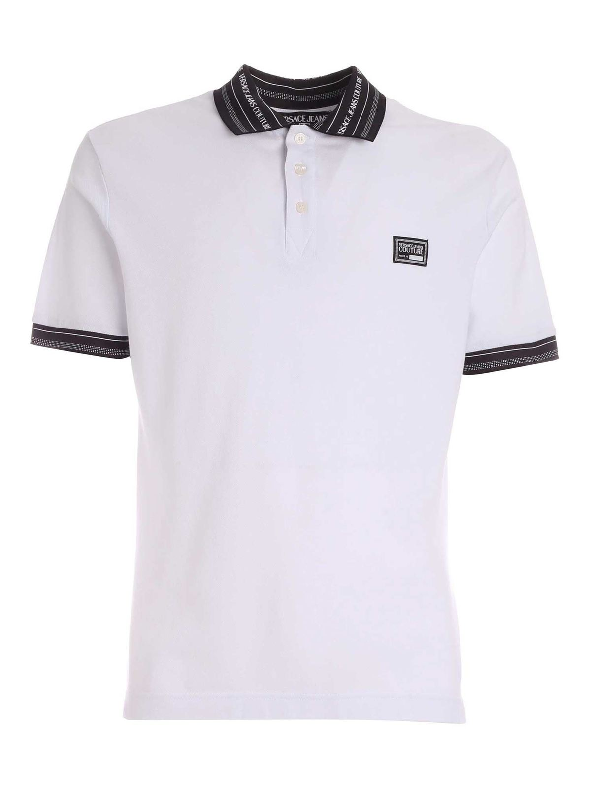 Versace Jeans Couture Cottons LETTERING LOGO DETAIL POLO SHIRT IN WHITE