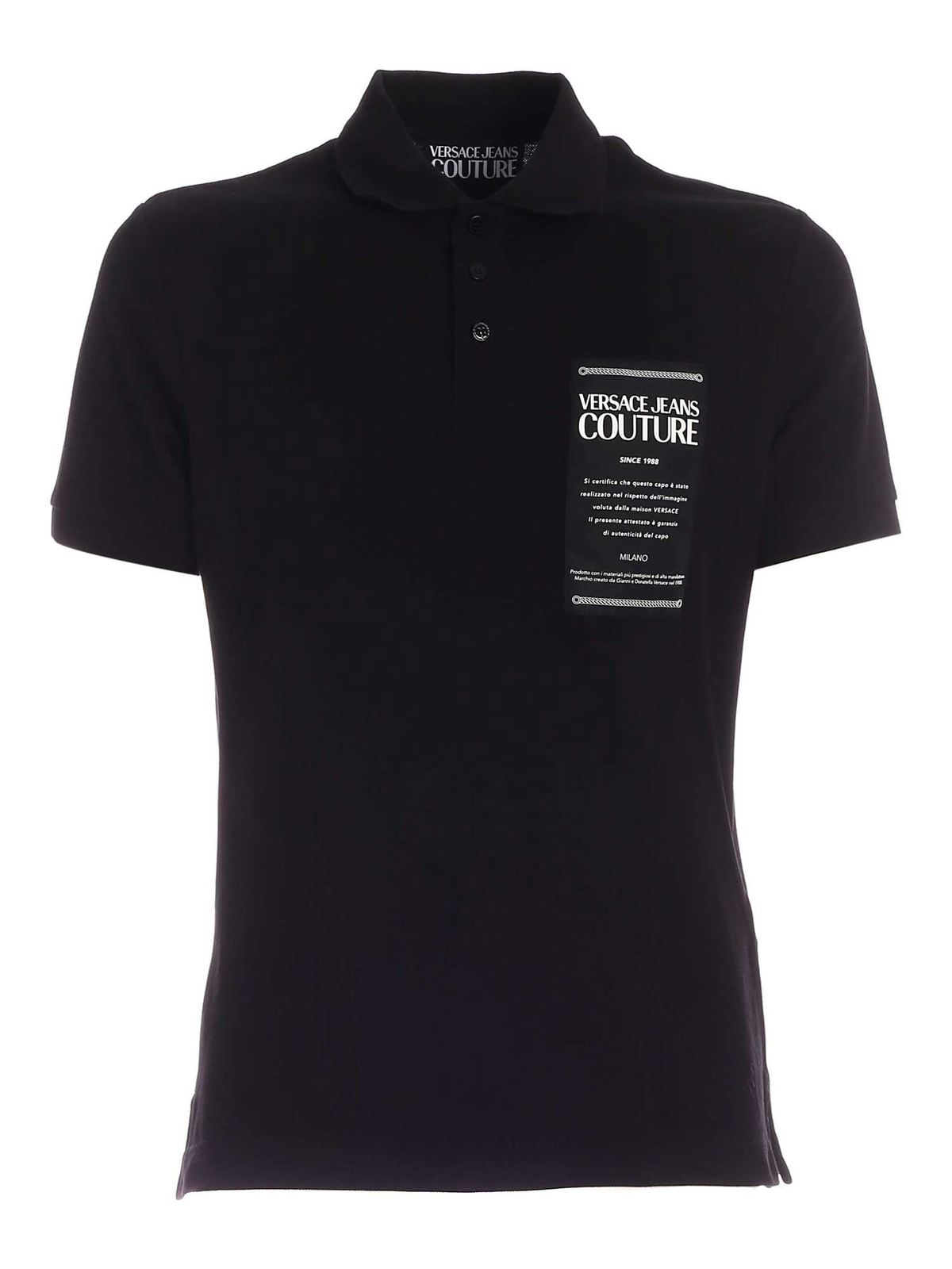 VERSACE JEANS COUTURE LOGO PATCH POLO SHIRT IN BLACK