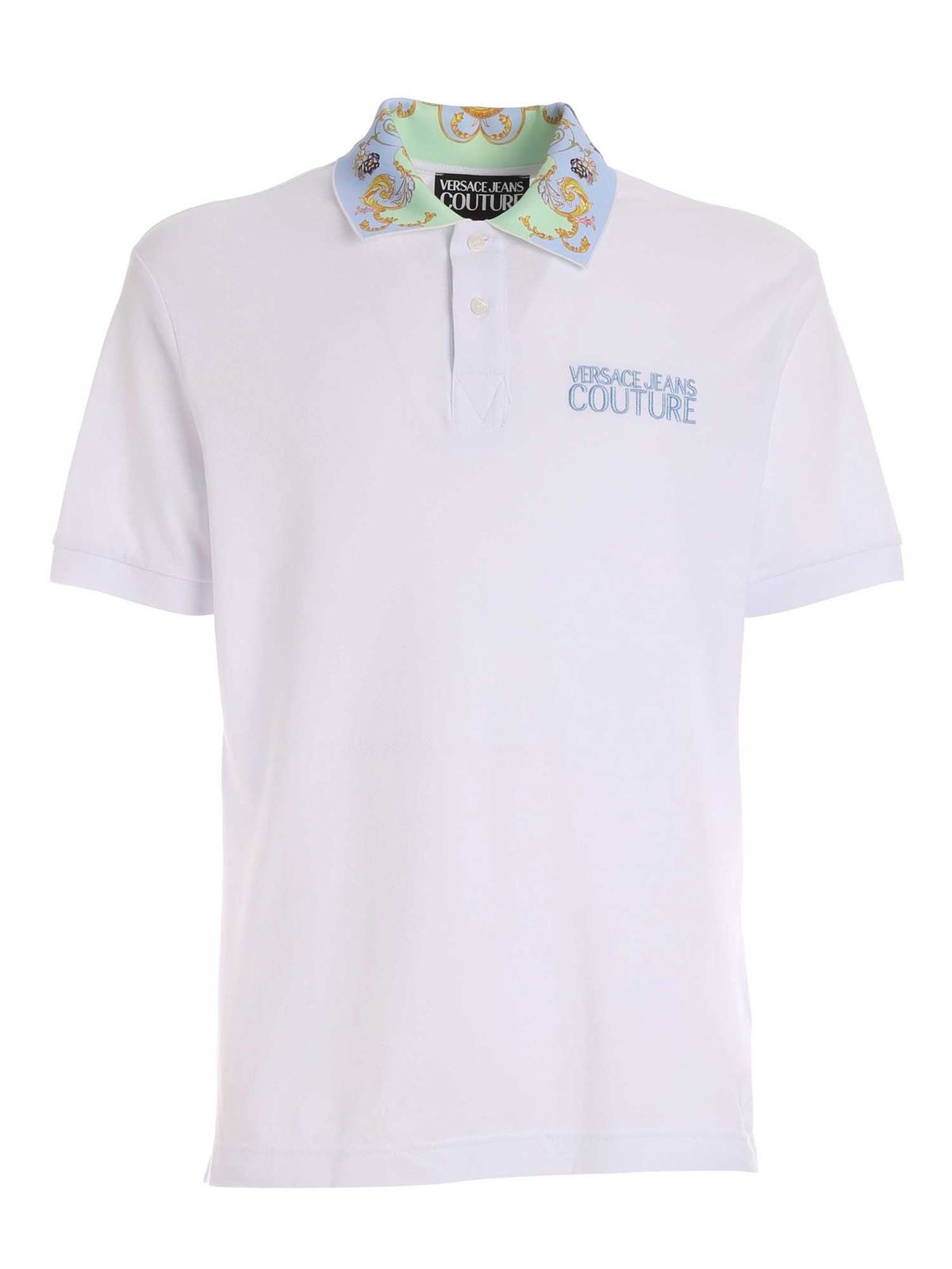 VERSACE JEANS COUTURE LOGO PRINT DETAILS POLO SHIRT IN WHITE