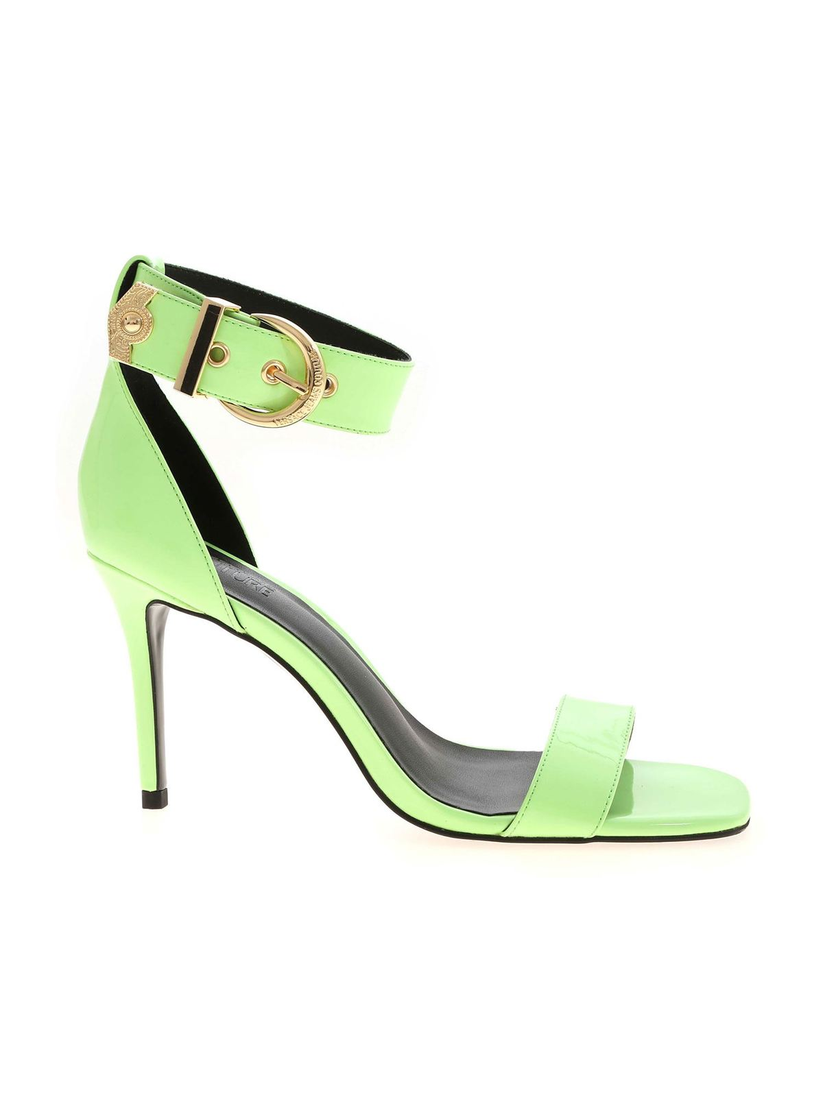 Versace Jeans Couture GOLDEN BUCKLE  SANDALS IN MINT GREEN