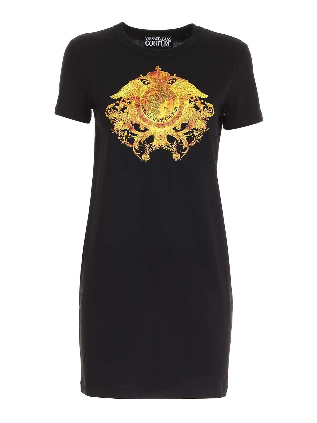 Versace Jeans Couture ROCOCO PATTERN DRESS IN BLACK