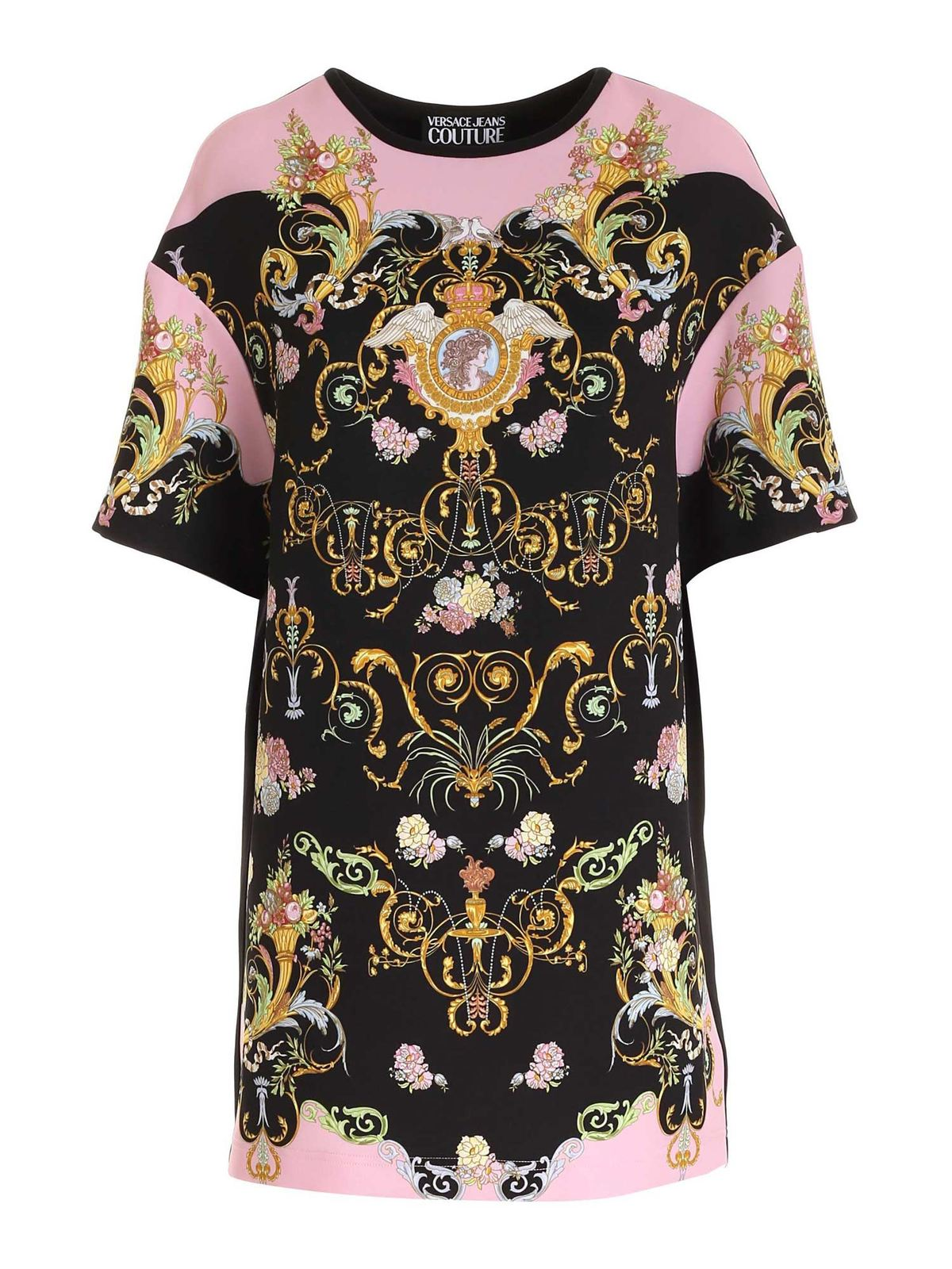 Versace Jeans Couture Dresses VERSAILLES PRINT SHORT SLEEVES DRESS IN BLACK