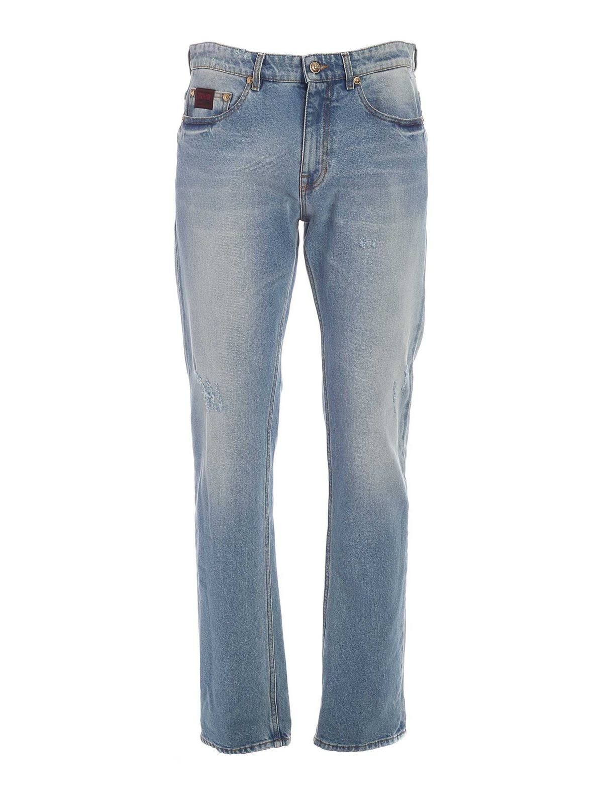 Versace Jeans Couture V-EMBLEM EMBROIDERY JEANS IN LIGHT BLUE