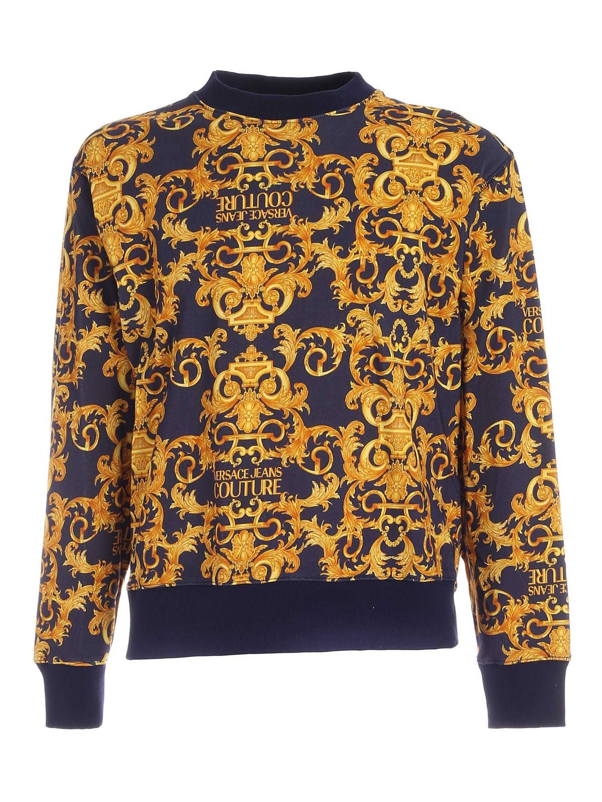 VERSACE JEANS COUTURE BAROQUE LOGO PRINT SWEATSHIRT IN BLUE