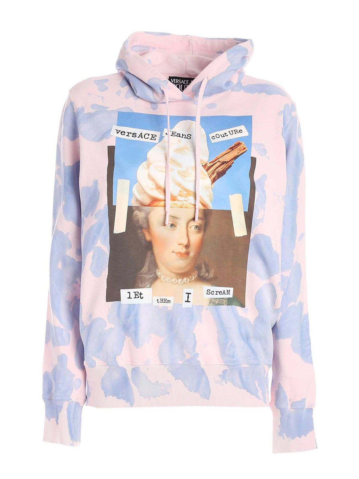 Versace Jeans Couture CAPSULE COLLECTION PRINTED HOODIE IN PINK AND