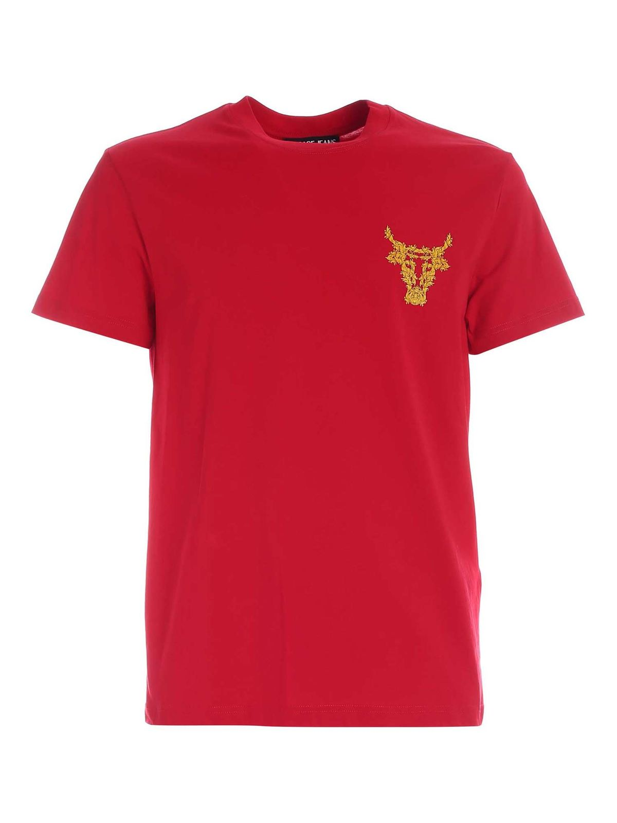 VERSACE JEANS COUTURE CAPODANNO LUNARE PATTERN T-SHIRT IN RED