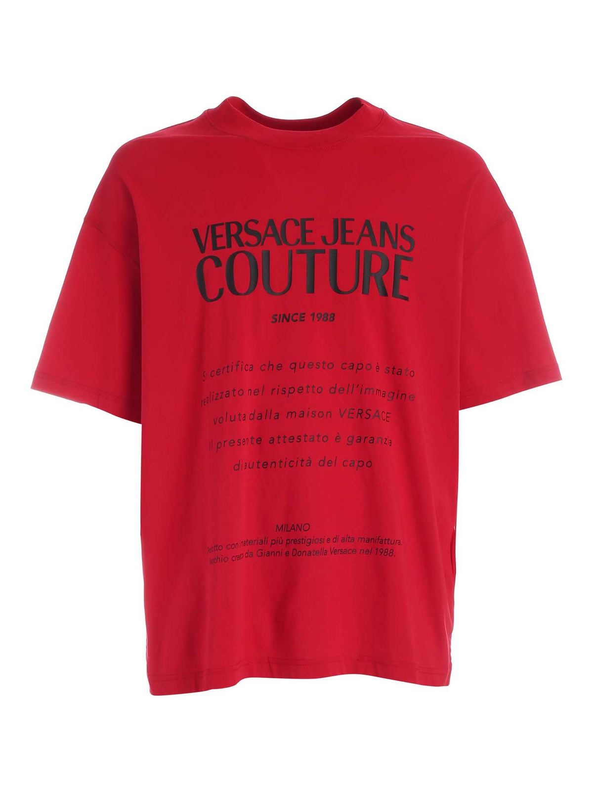 VERSACE JEANS COUTURE LABEL PRINT T-SHIRT IN RED