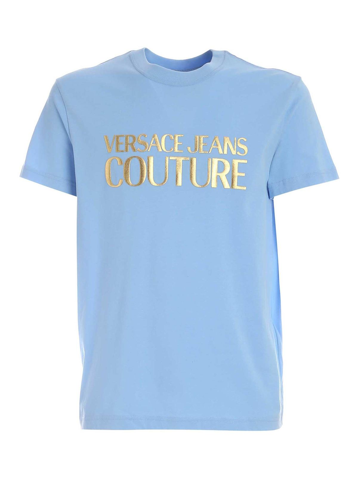 VERSACE JEANS COUTURE LAMINATED RUBBER LOGO T-SHIRT IN LIGHT BLUE