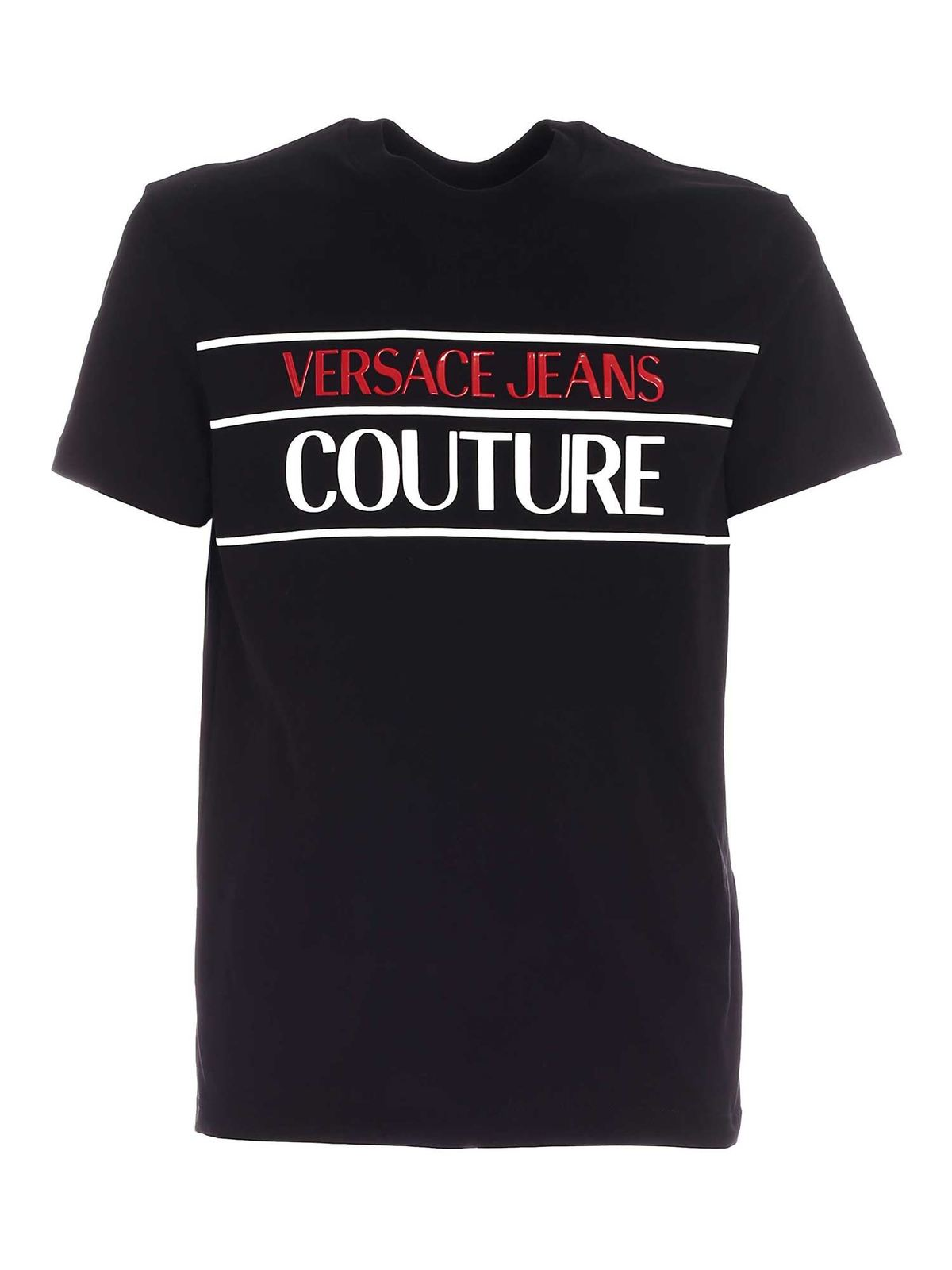 Versace Jeans Couture T-shirts LETTERING LOGO PRINT T-SHIRT IN BLACK