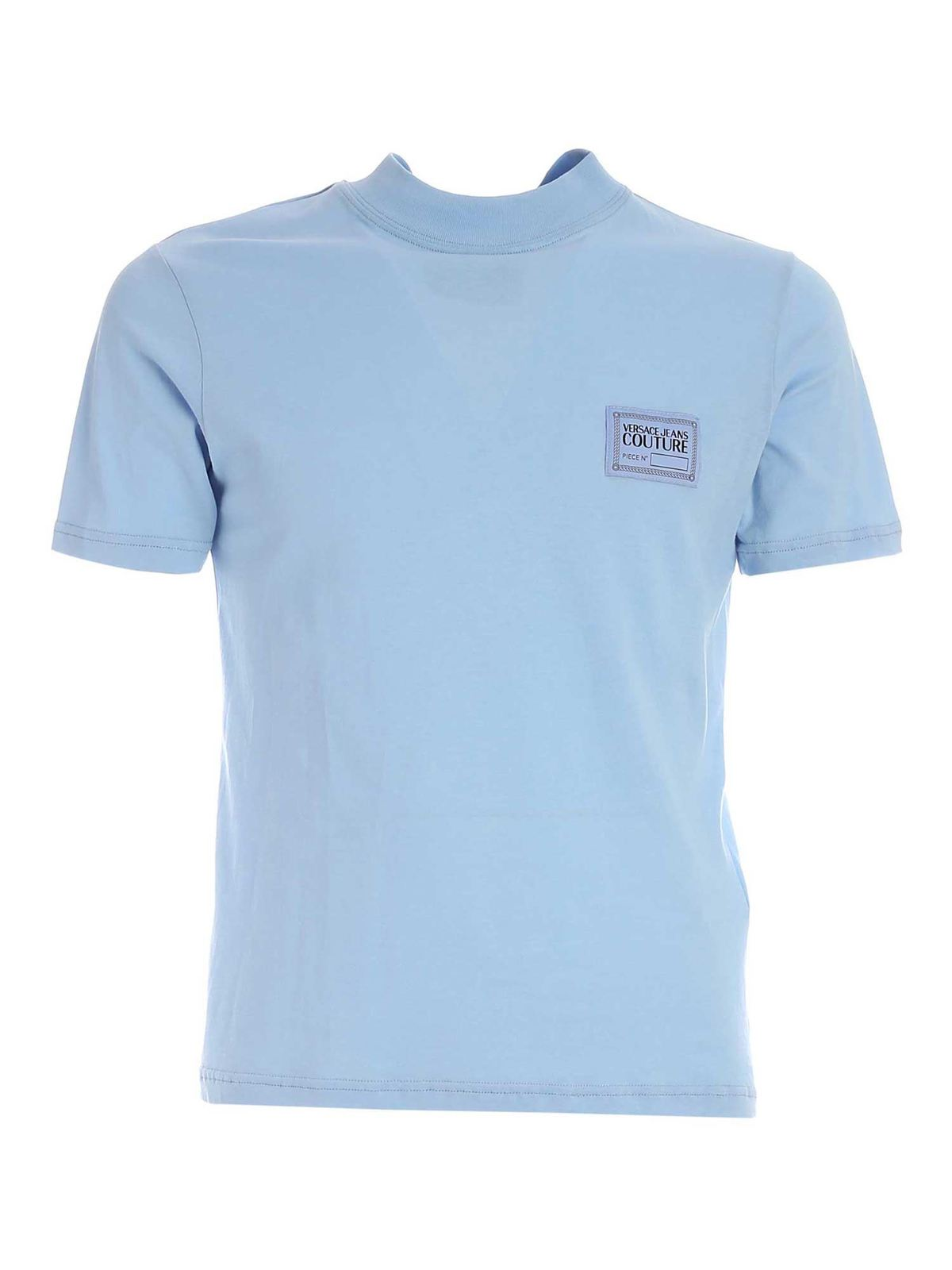 VERSACE JEANS COUTURE LOGO PATCH T-SHIRT IN LIGHT BLUE