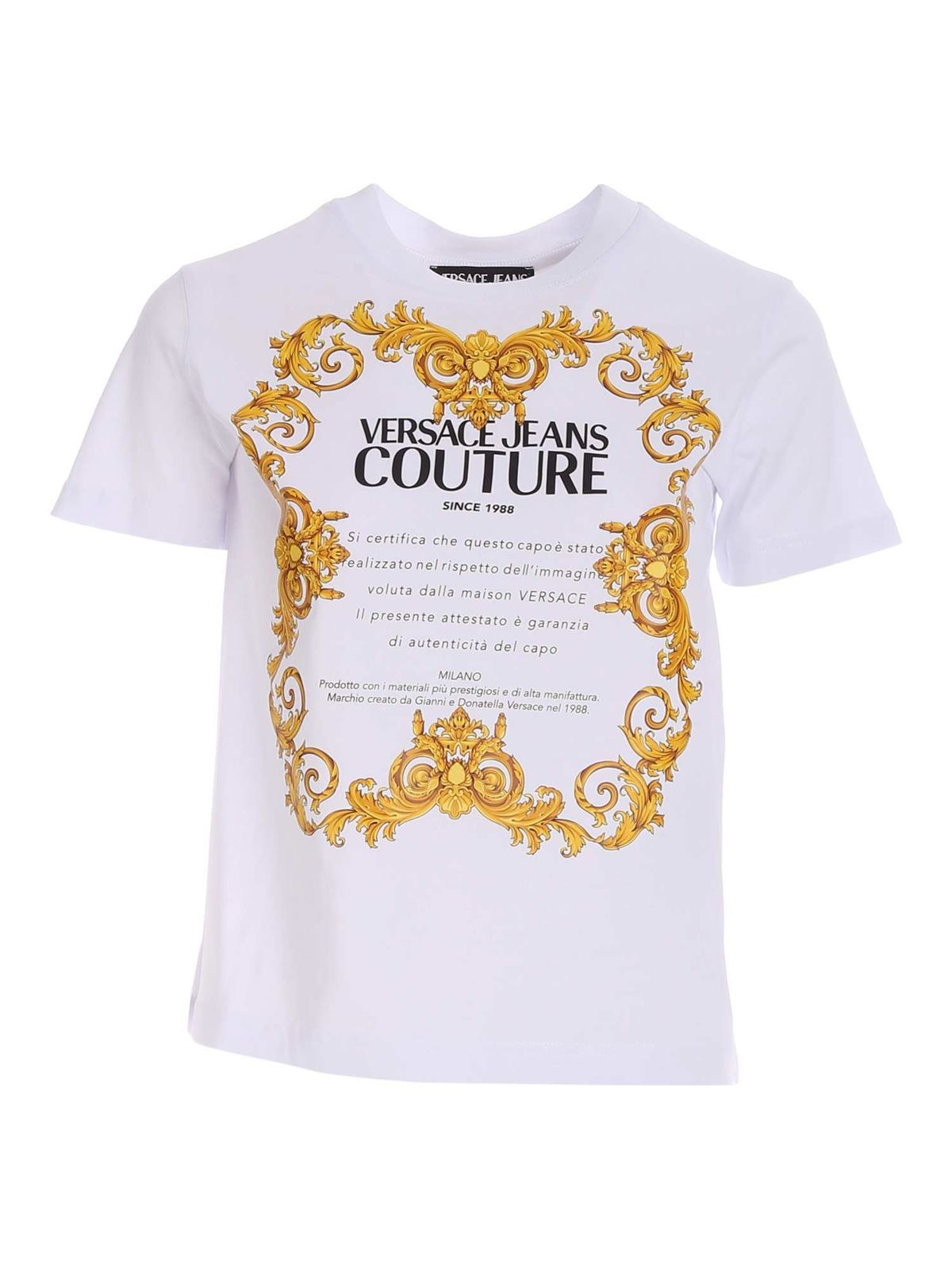 VERSACE JEANS COUTURE PRINTED T-SHIRT IN WHITE