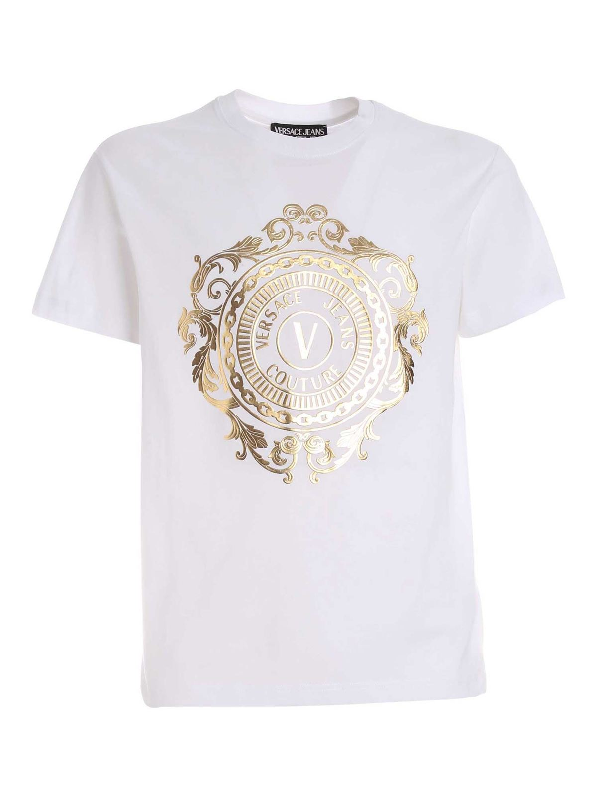 VERSACE JEANS COUTURE RUBBERIZED PRINT T-SHIRT IN WHITE