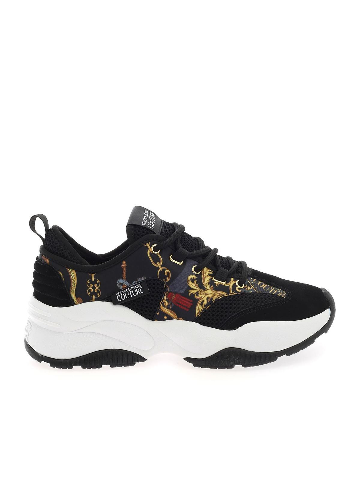VERSACE JEANS COUTURE BAROQUE LOGO PRINT SNEAKERS IN BLACK