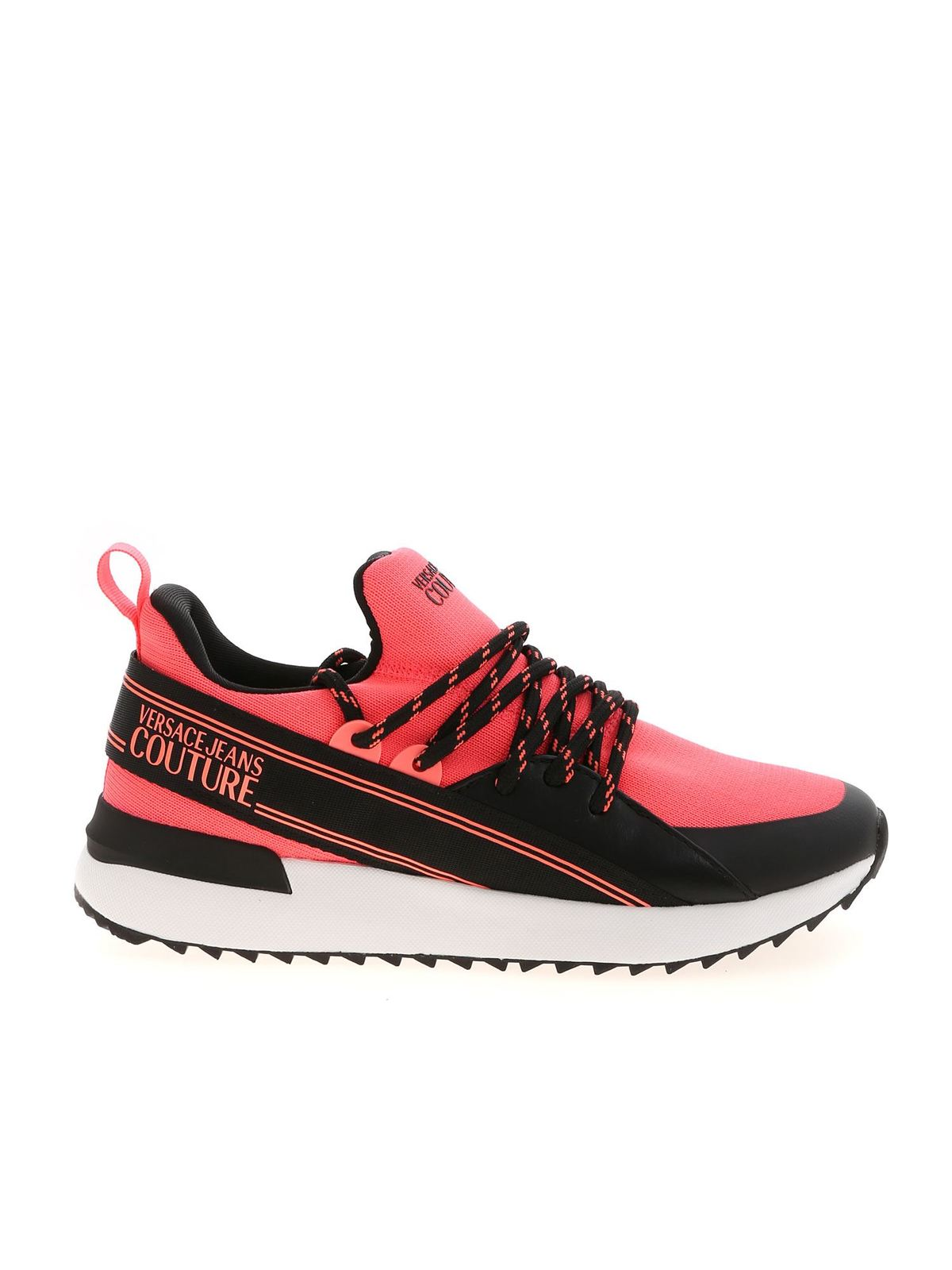 Versace Jeans Couture BLACK AND CORAL RED SNEAKERS