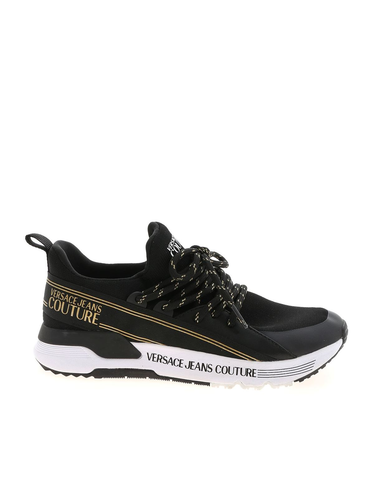 Versace Jeans Couture KNIT SNEAKERS IN BLACK AND GOLD COLOR