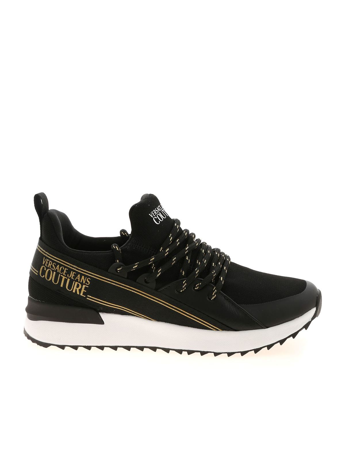 Versace Jeans Couture SNEAKERS IN BLACK AND GOLD COLOR