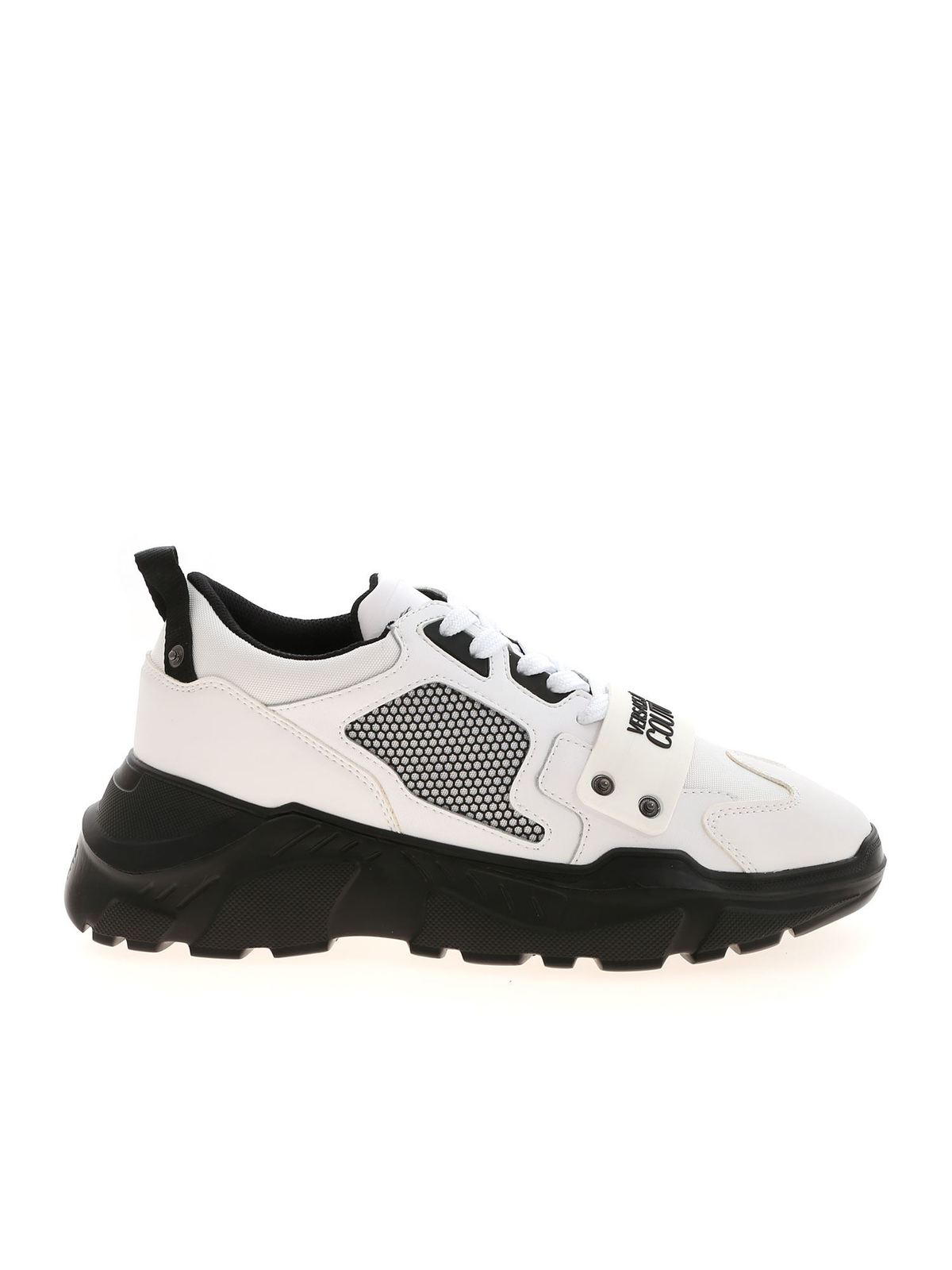 VERSACE JEANS COUTURE SNEAKERS WITH RUBBERIZED LOGO IN WHITE