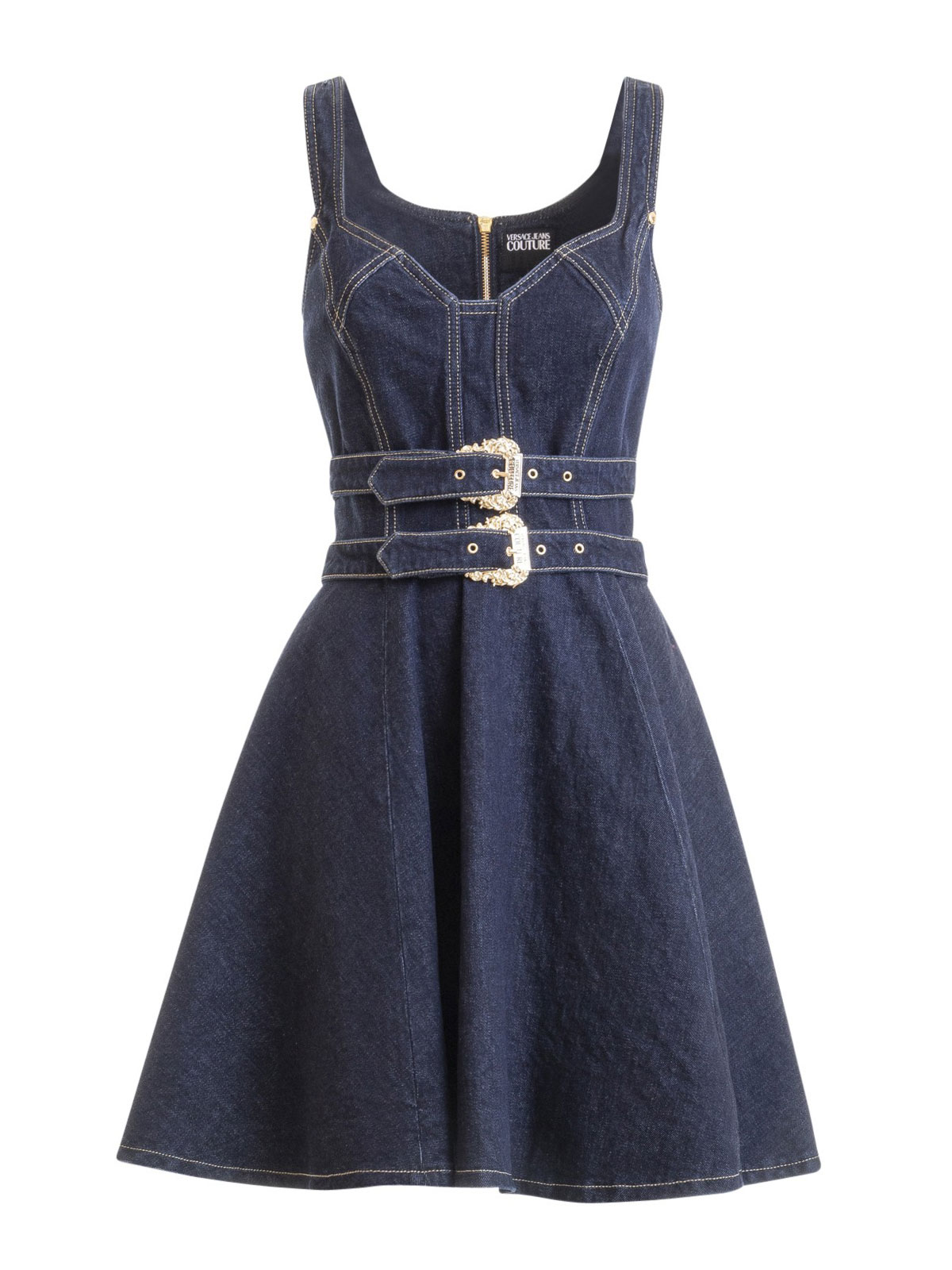 versace jeans couture - double belted denim dress - کوتاه