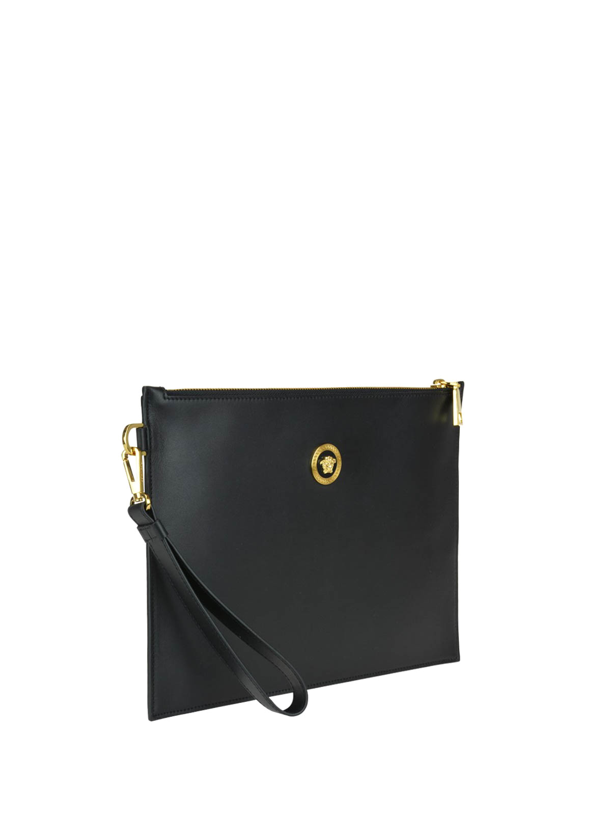 1dcf29e1fbe6 VERSACE  clutches online - Medusa Head detailed black leather clutch