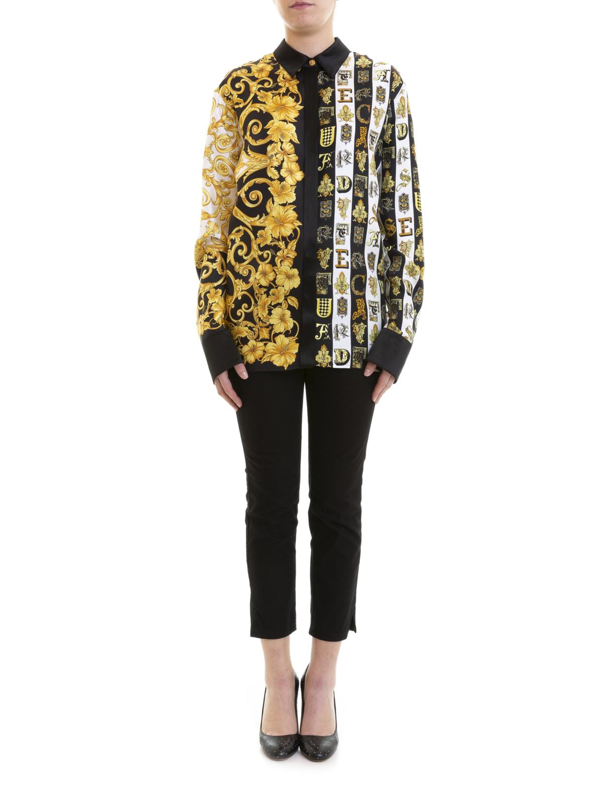 fdb32b9a7a Versace - Gold Hibiscus and Zeus print silk shirt - shirts ...