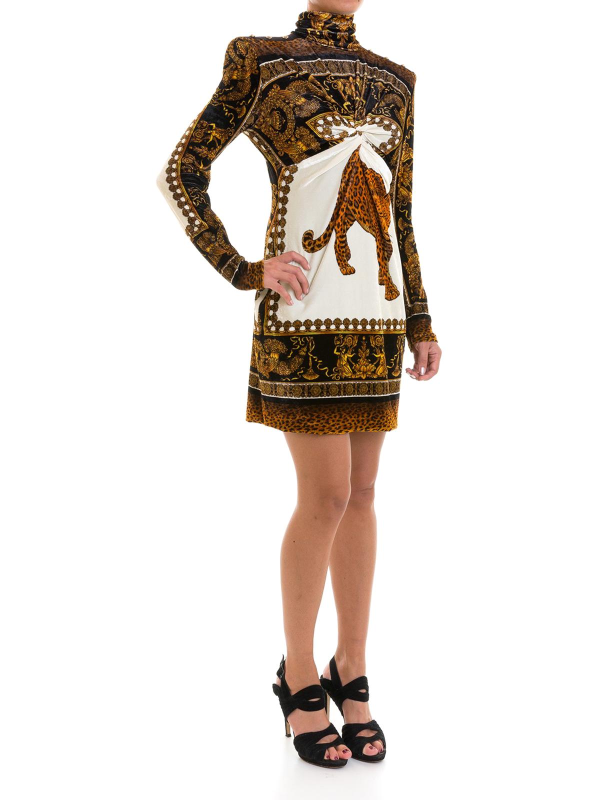 new arrivals 7dc06 952d2 Versace - Abito in velluto stampa animalier - abiti corti ...
