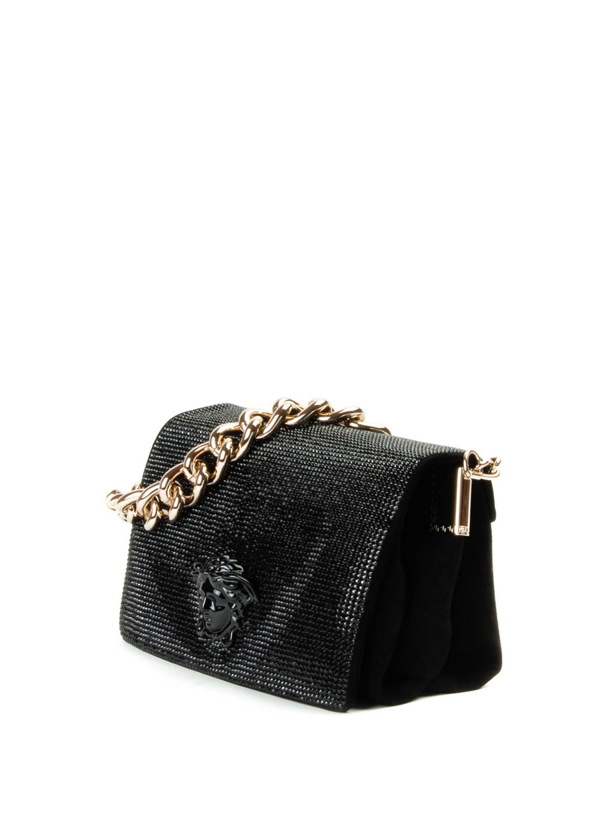 suede and rhinestone shoulder bag by versace shoulder. Black Bedroom Furniture Sets. Home Design Ideas