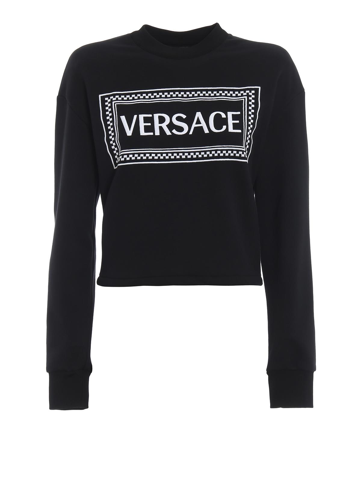 45fd399137 Versace - Versace 90s Vintage logo cropped sweatshirt - Sweatshirts ...