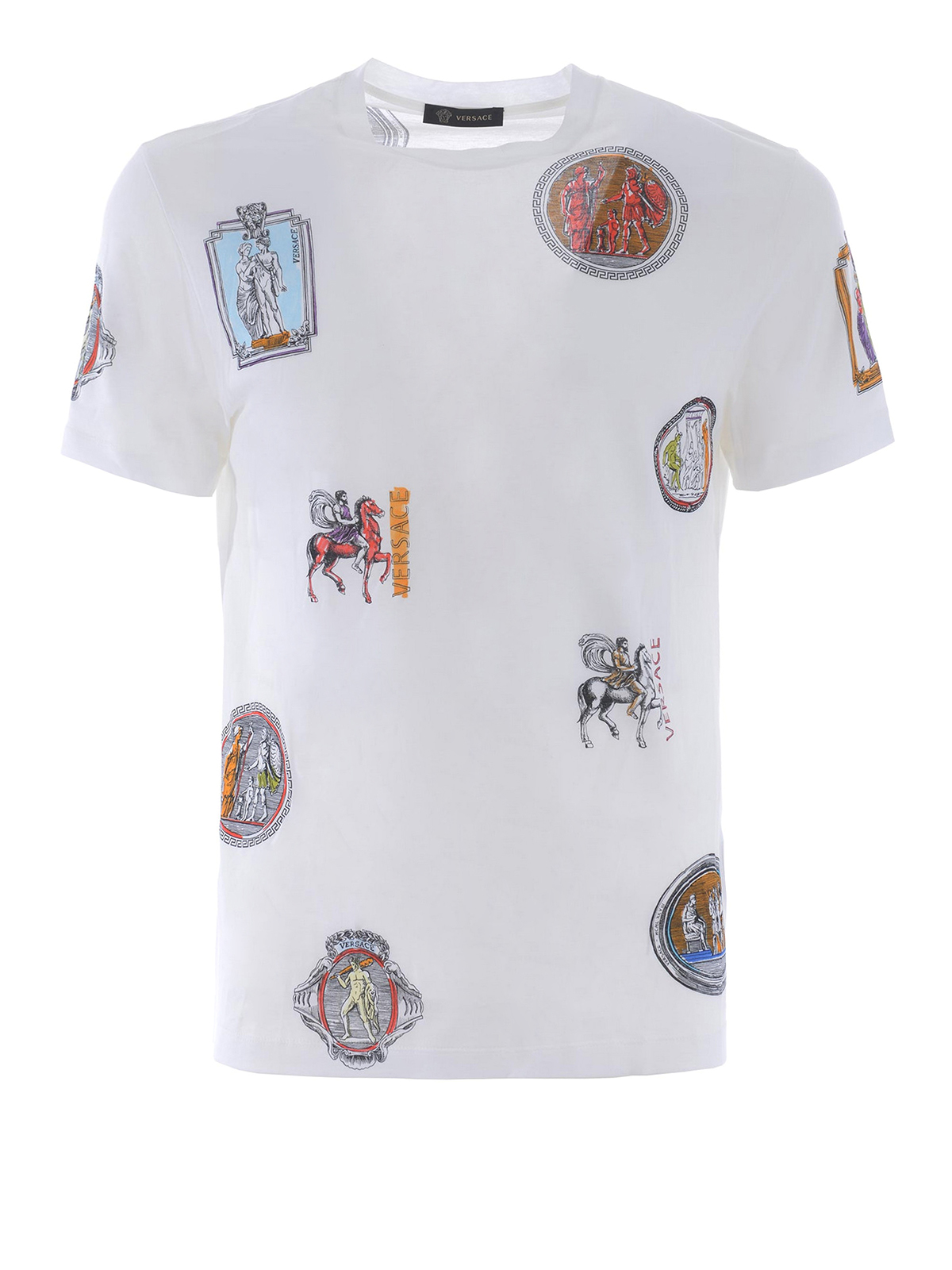 Greek print cotton t shirt by versace t shirts ikrix for Who prints t shirts
