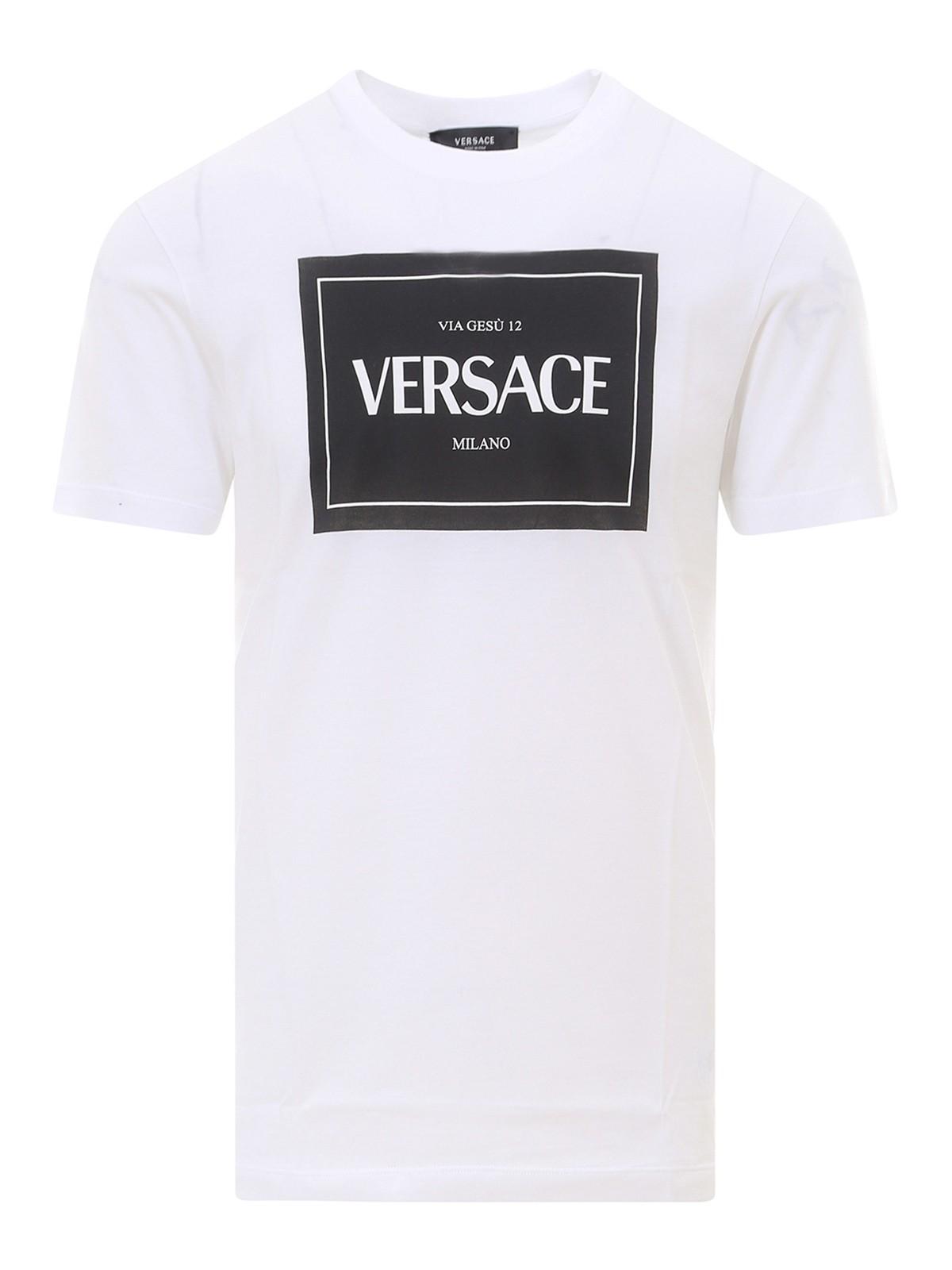 Versace Cottons LOGO PRINTED JERSEY T-SHIRT