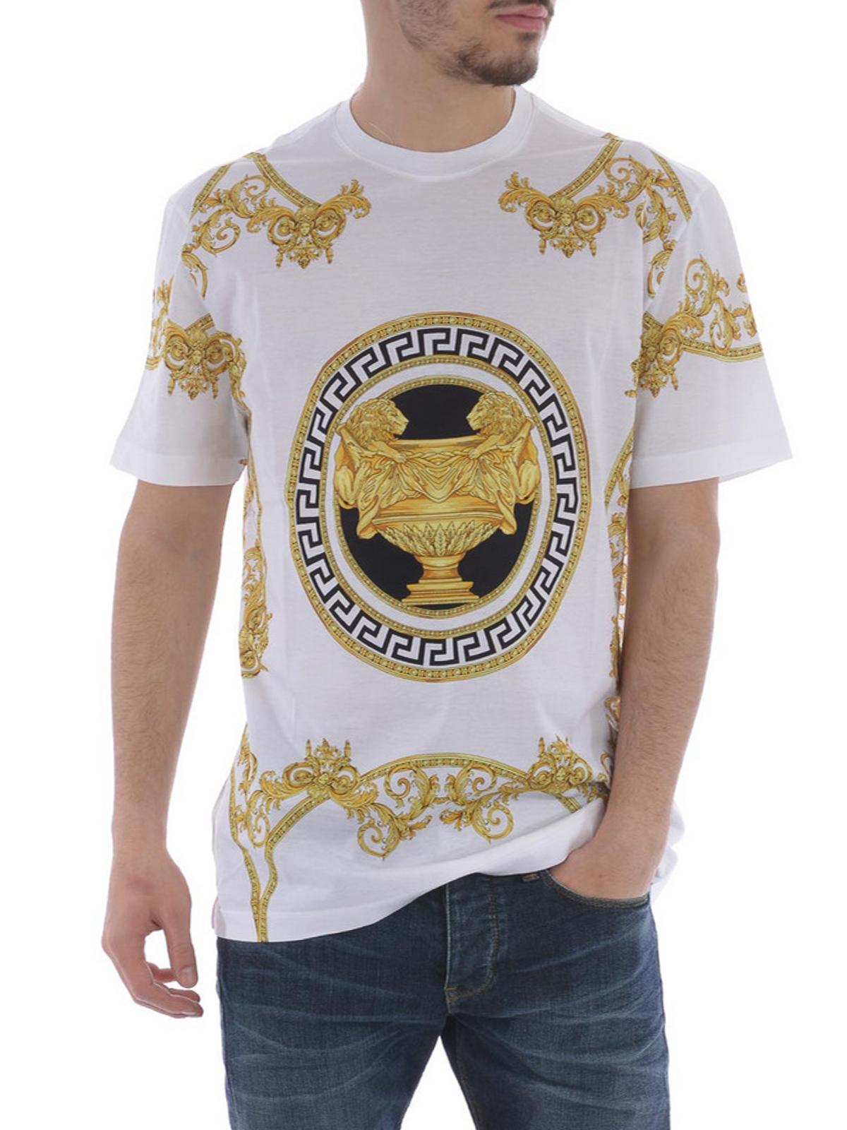 Baroque print cotton T-shirt by Versace - t-shirts | iKRIX