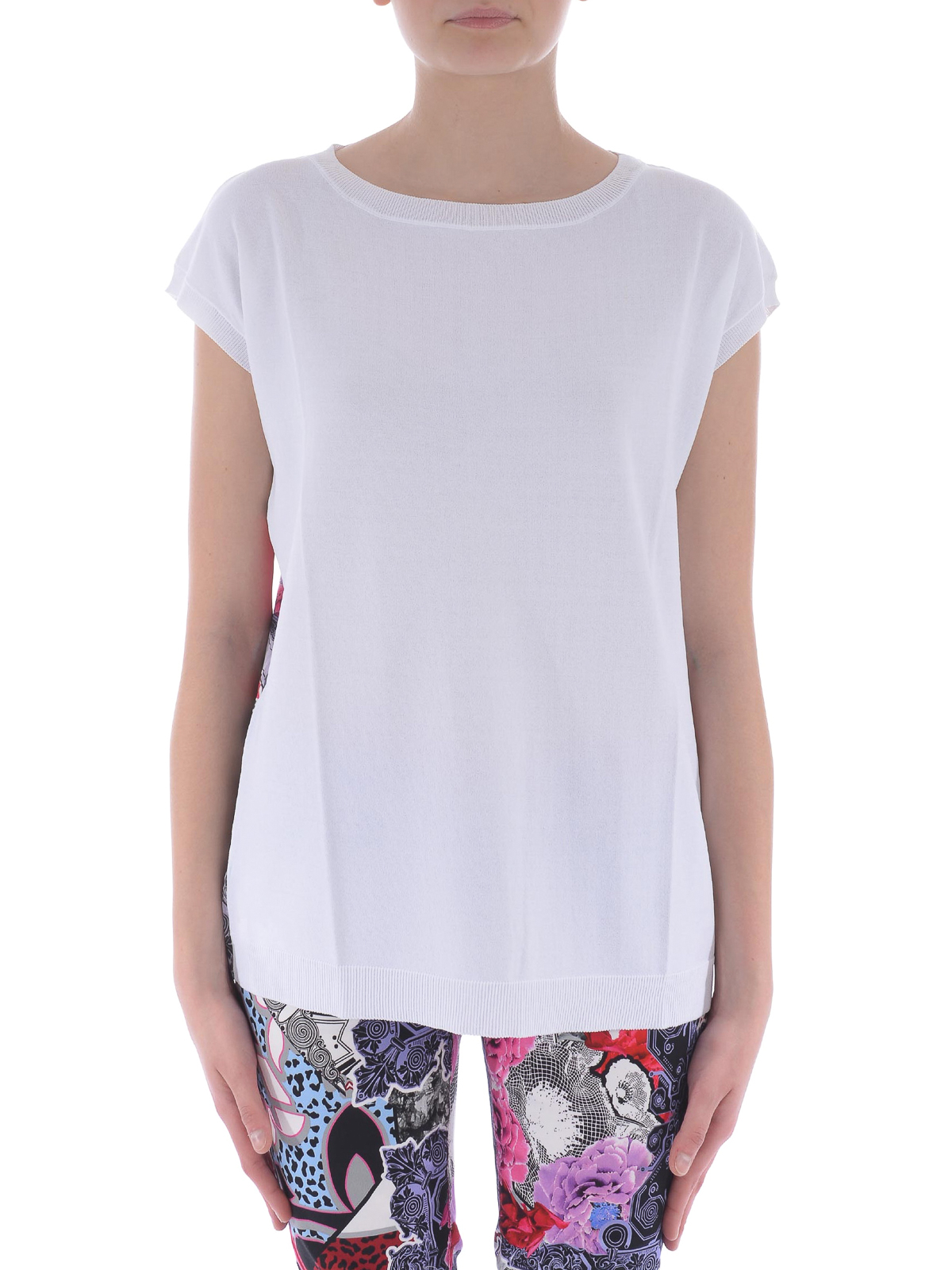 Versace jeans jersey and satin tee by versace t shirts for Versace t shirts women