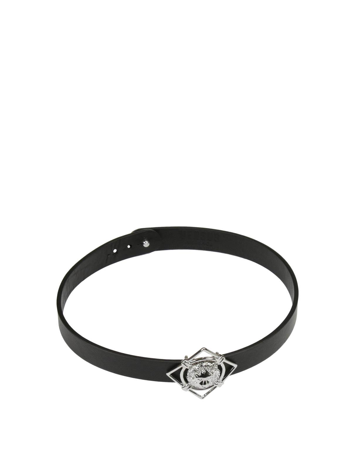 b003d5dfb5ce Versus Versace - Leather bracelet with metal Lion - Bracelets ...