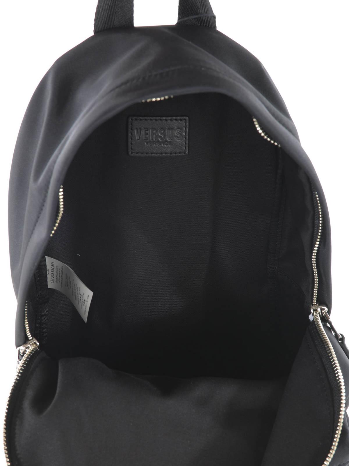 Versus Versace - LION HEAD DETAIL NYLON BACKPACK - backpacks ... 1f90846a64e9f