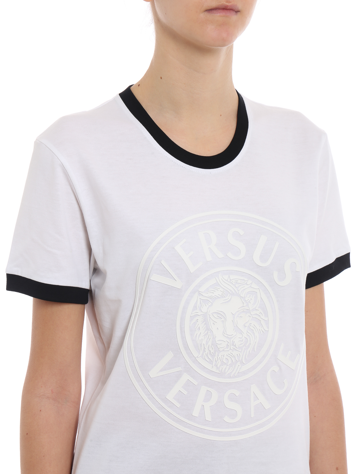caed248e72b3fb Versus Versace - Rubberized Lion Head white slim T-shirt - t-shirts ...