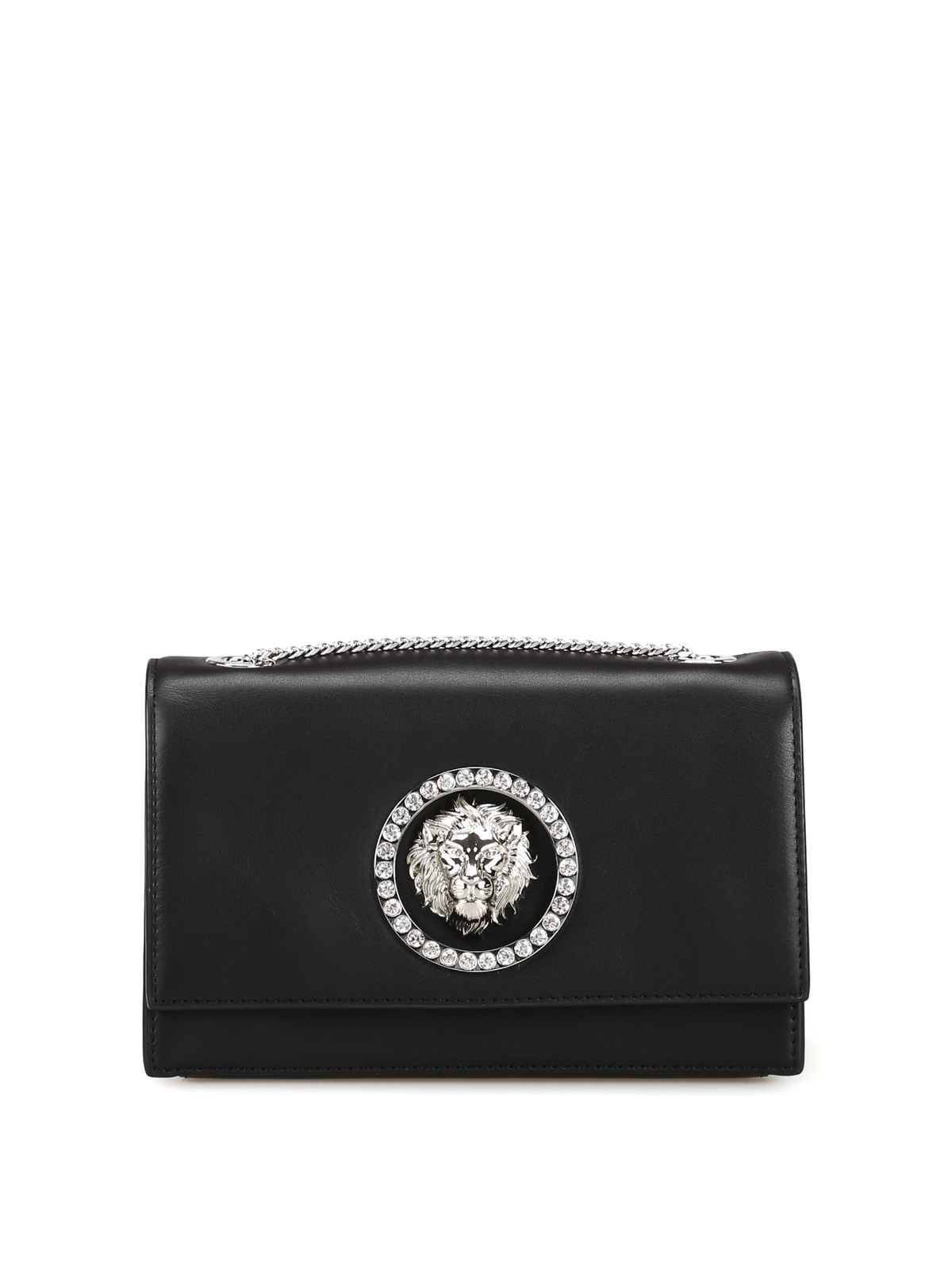 68b82d5bfda Versus Versace - Crystal eyelet Lion Head black clutch - clutches ...