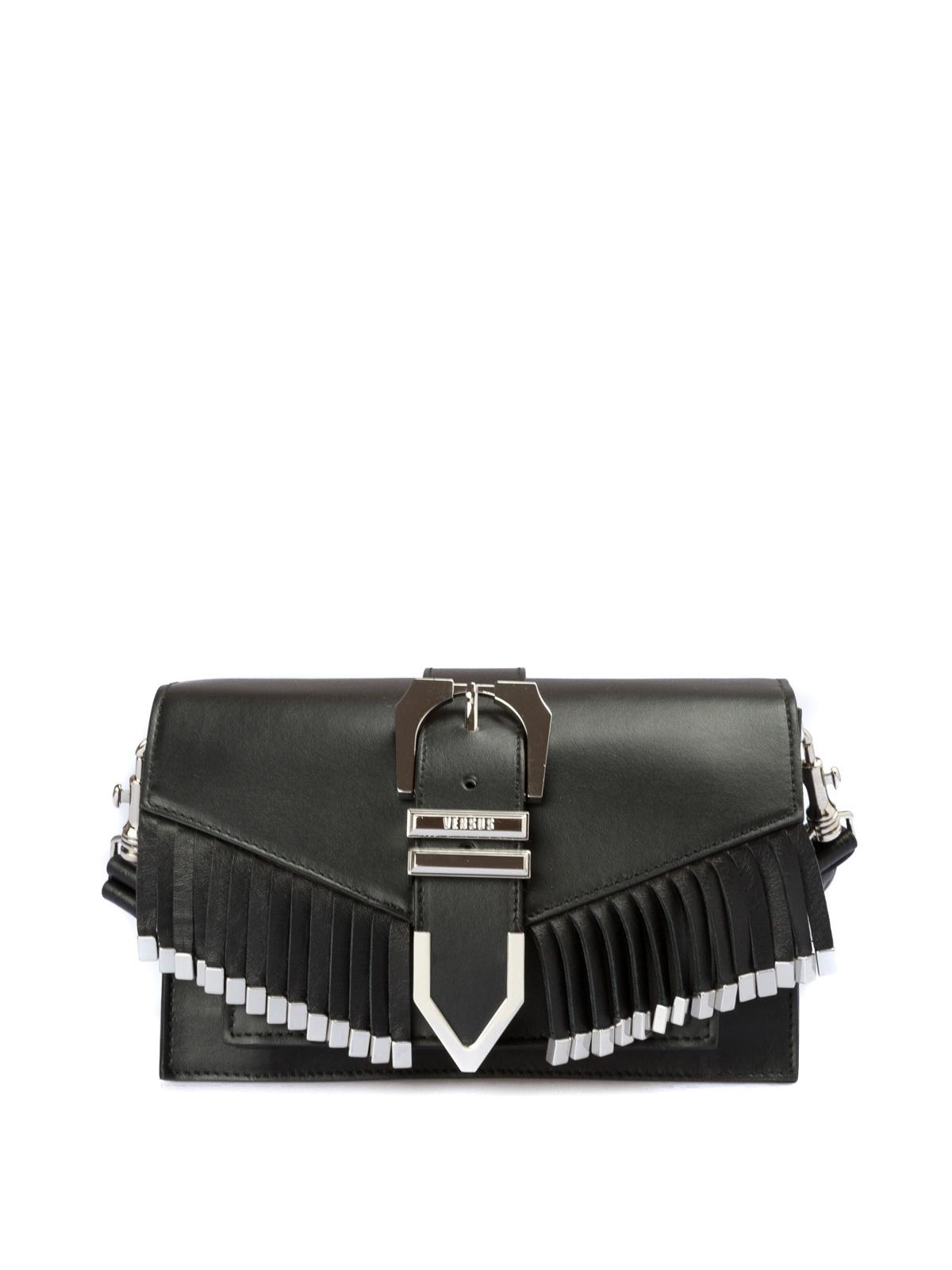 8f409569a9 Versus Versace: borse a tracolla - Borsa in pelle con frange e fibbia