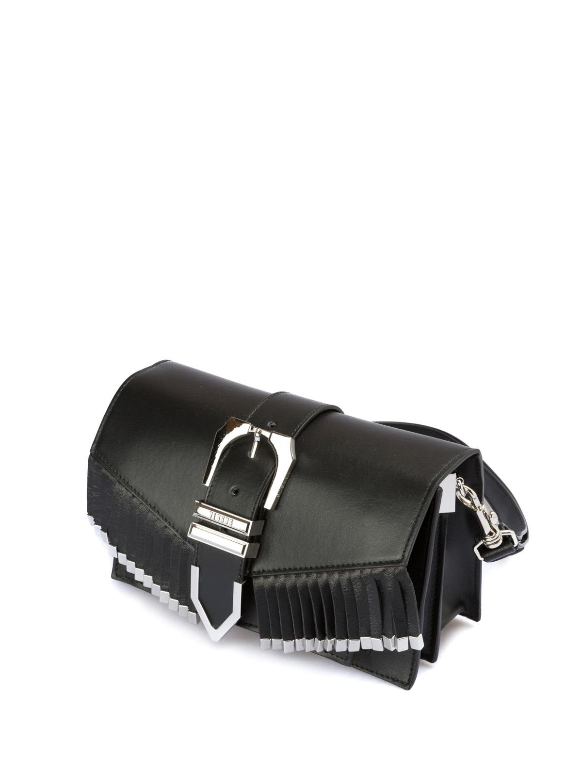 b89a309744 Versus Versace: borse a tracolla online - Borsa in pelle con frange e fibbia