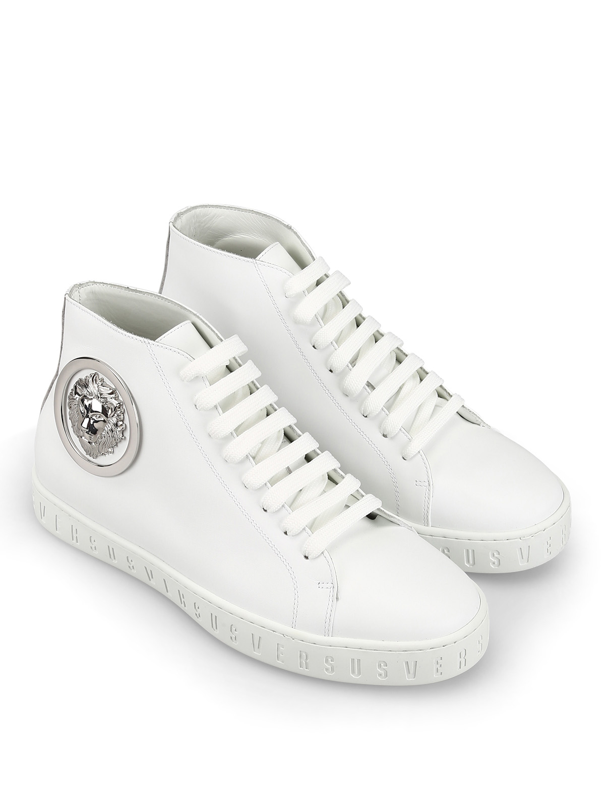 Versus Versace - Lion Head high top white leather sneakers ...