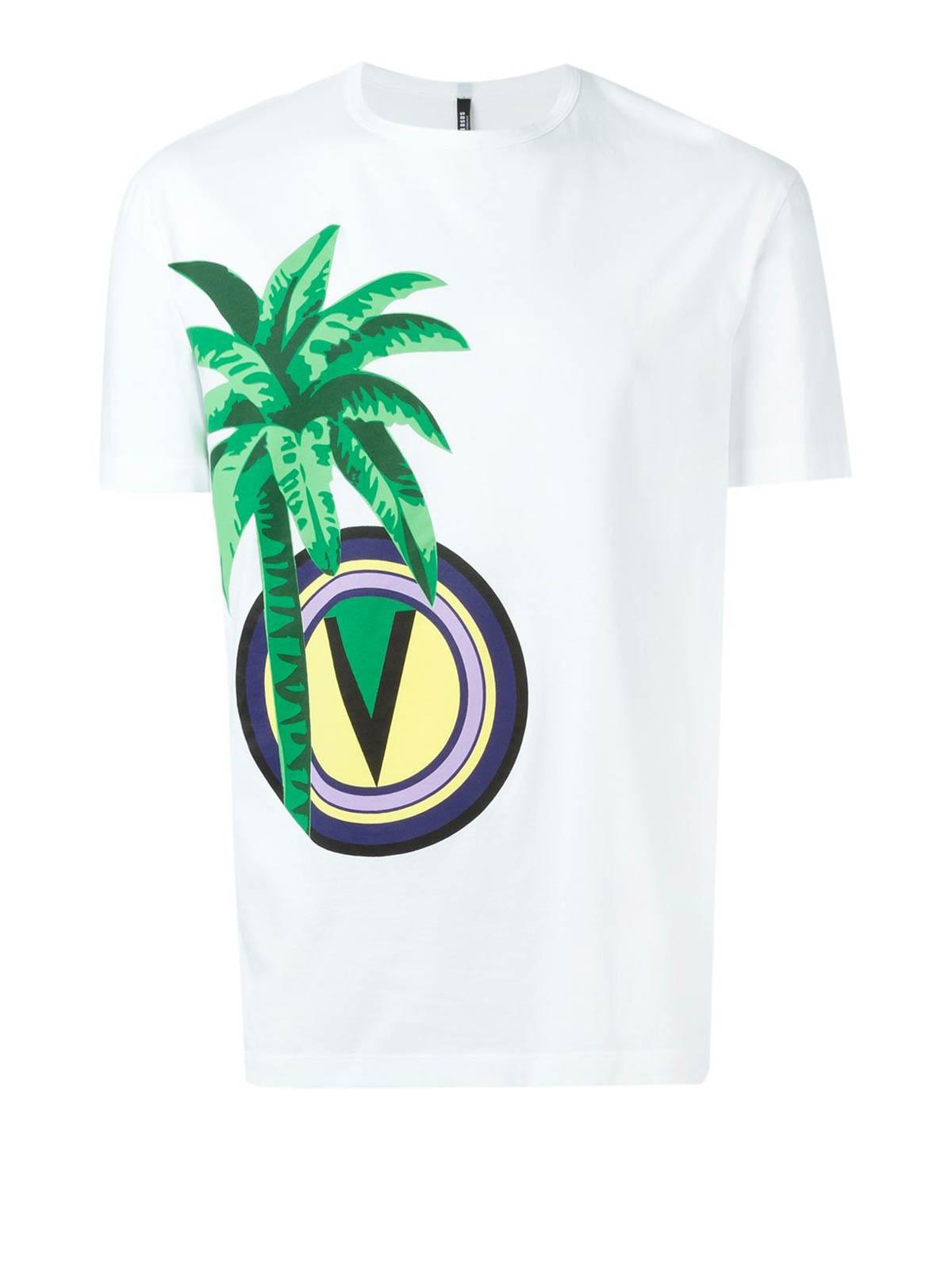 Palm Patch Print T Shirt By Versus Versace T Shirts Shop Online