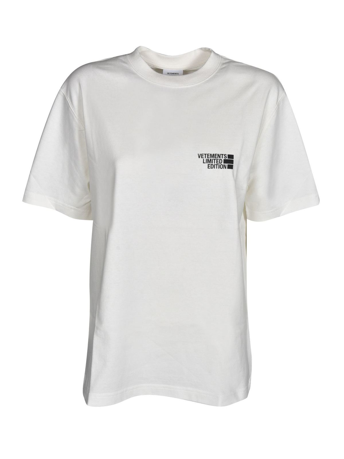 Vetements Cottons LOGO PRINT T-SHIRT IN WHITE