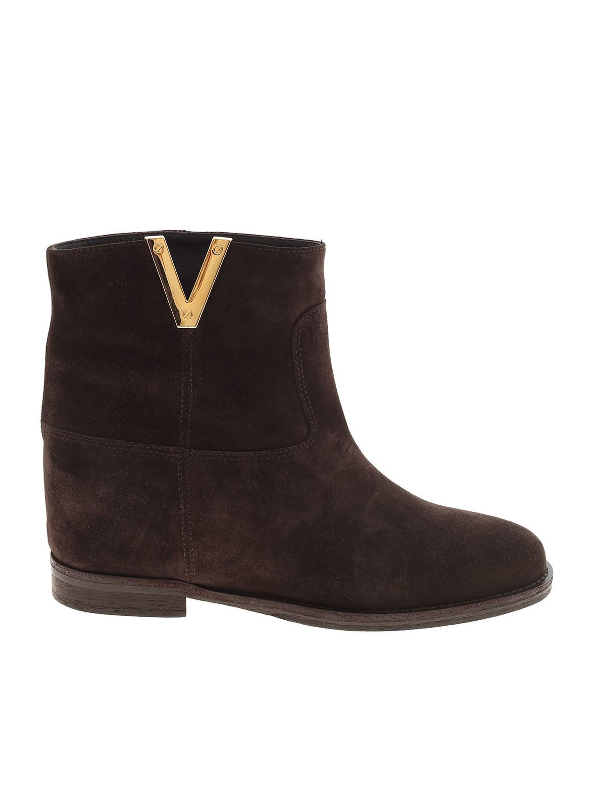 Via Roma 15 2576 SUEDE ANKLE BOOTS IN BROWN