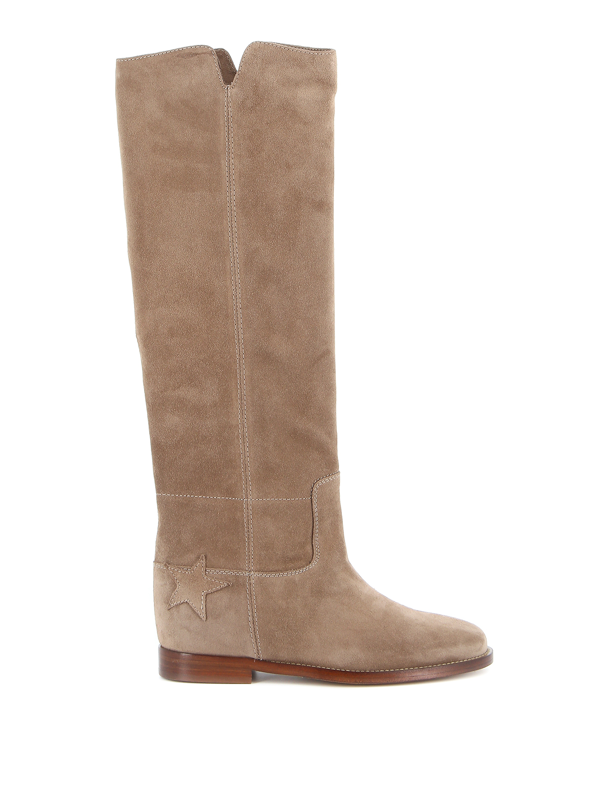 Via Roma 15 SUEDE BOOTS WITH STAR PATCH