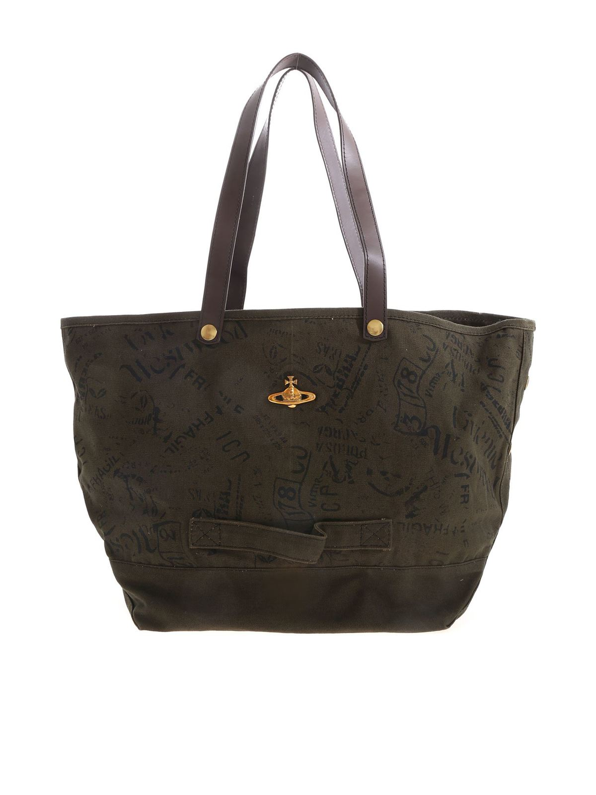 Vivienne Westwood CITY CANVAS SHOULDER BAG IN MILITARY GREEN