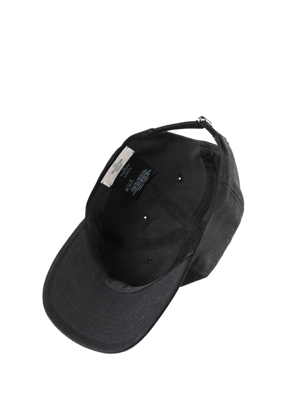 e0ce17d01de Valentino Garavani - VLTN black cotton baseball cap - hats   caps ...