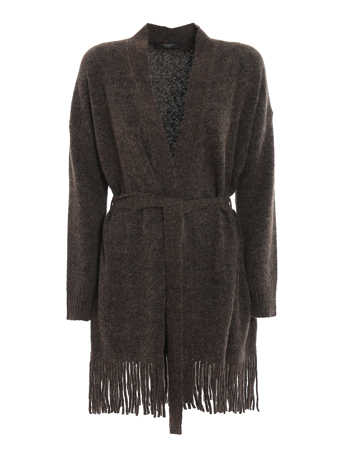 Weekend Max Mara Doroty Alpaca Fringed Hem Cardigan In Brown