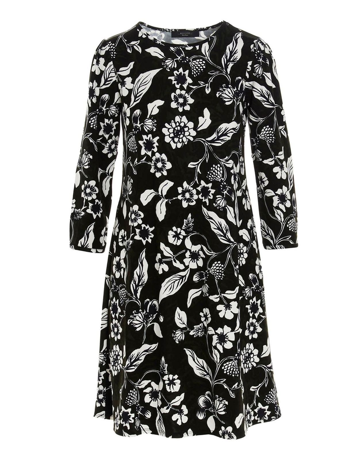 Weekend Max Mara Cottons NOVELI FLORAL DRESS IN BLACK