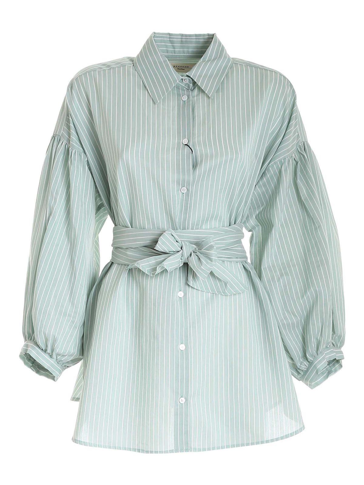 Weekend Max Mara Shirts BALEARI SHIRT IN GREEN AND WHITE
