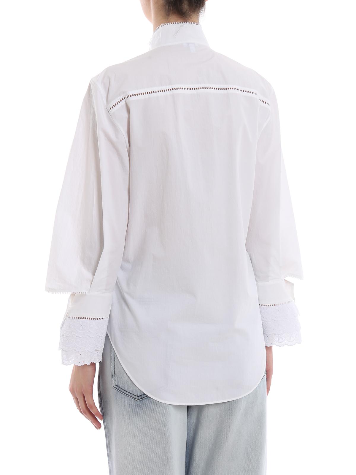 dc352341c84 Loewe - White cotton embroidered ruffle shirt - shirts - D2199810FO2100