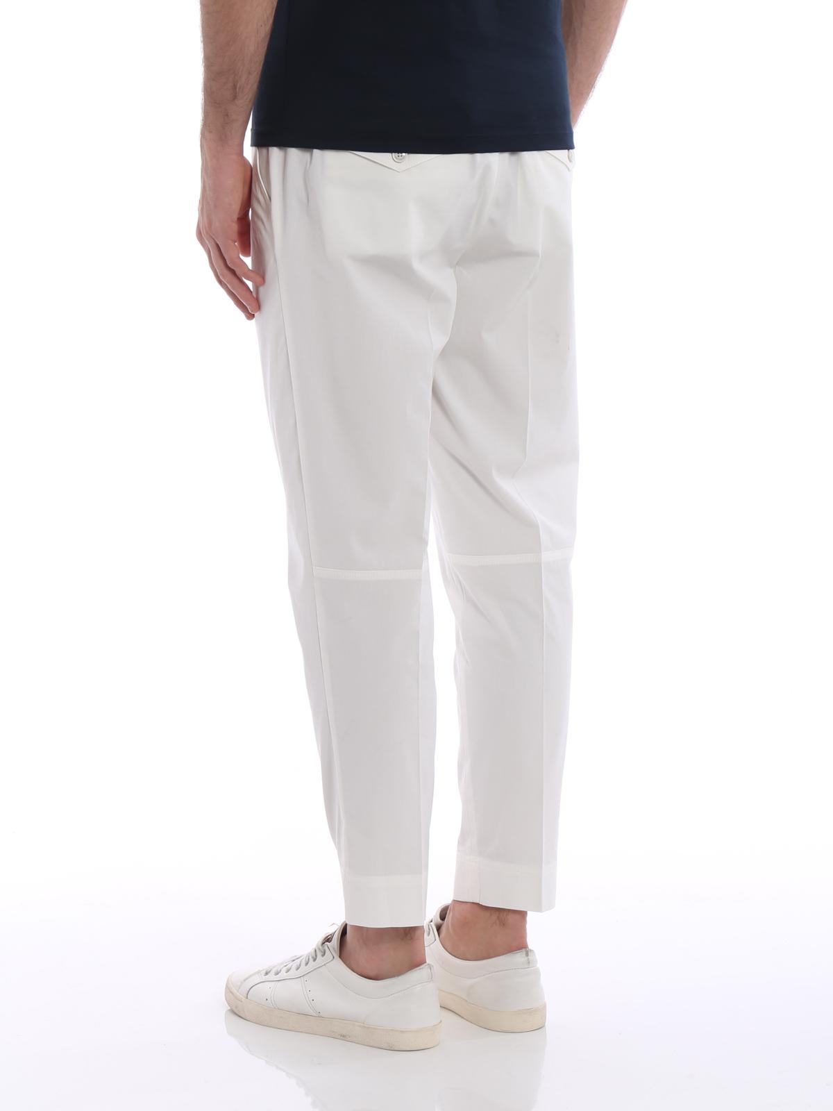 e253c5ca68 Moncler - White gabardine sport slacks - casual trousers - D1 091 ...
